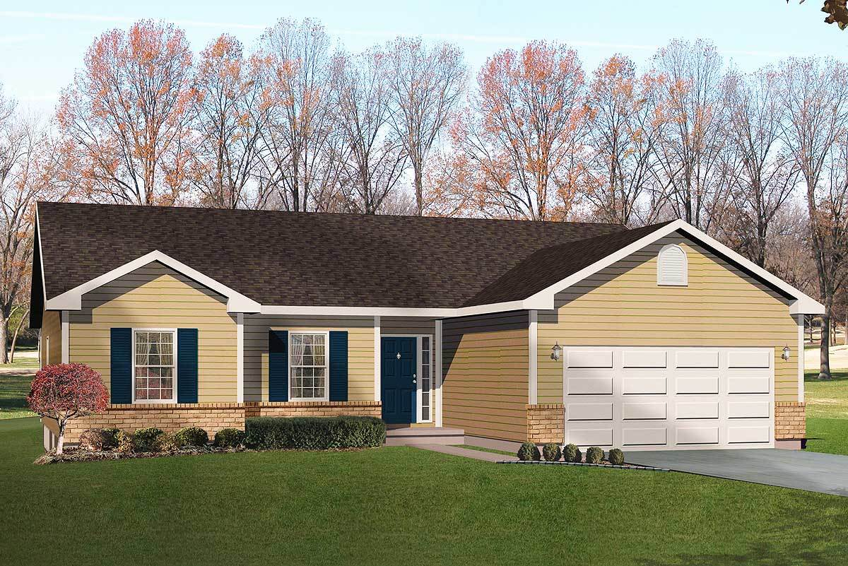 Simple ranch with vaulted family room 22000sl for Large ranch home plans