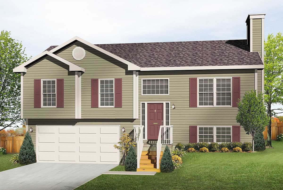 Cozy Split Level Home Plan 22003sl Architectural