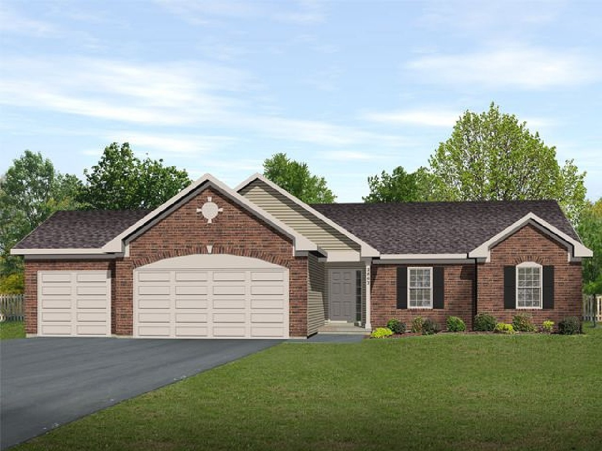 Ranch living with three car garage 22006sl for Ranch house plans with 3 car garage