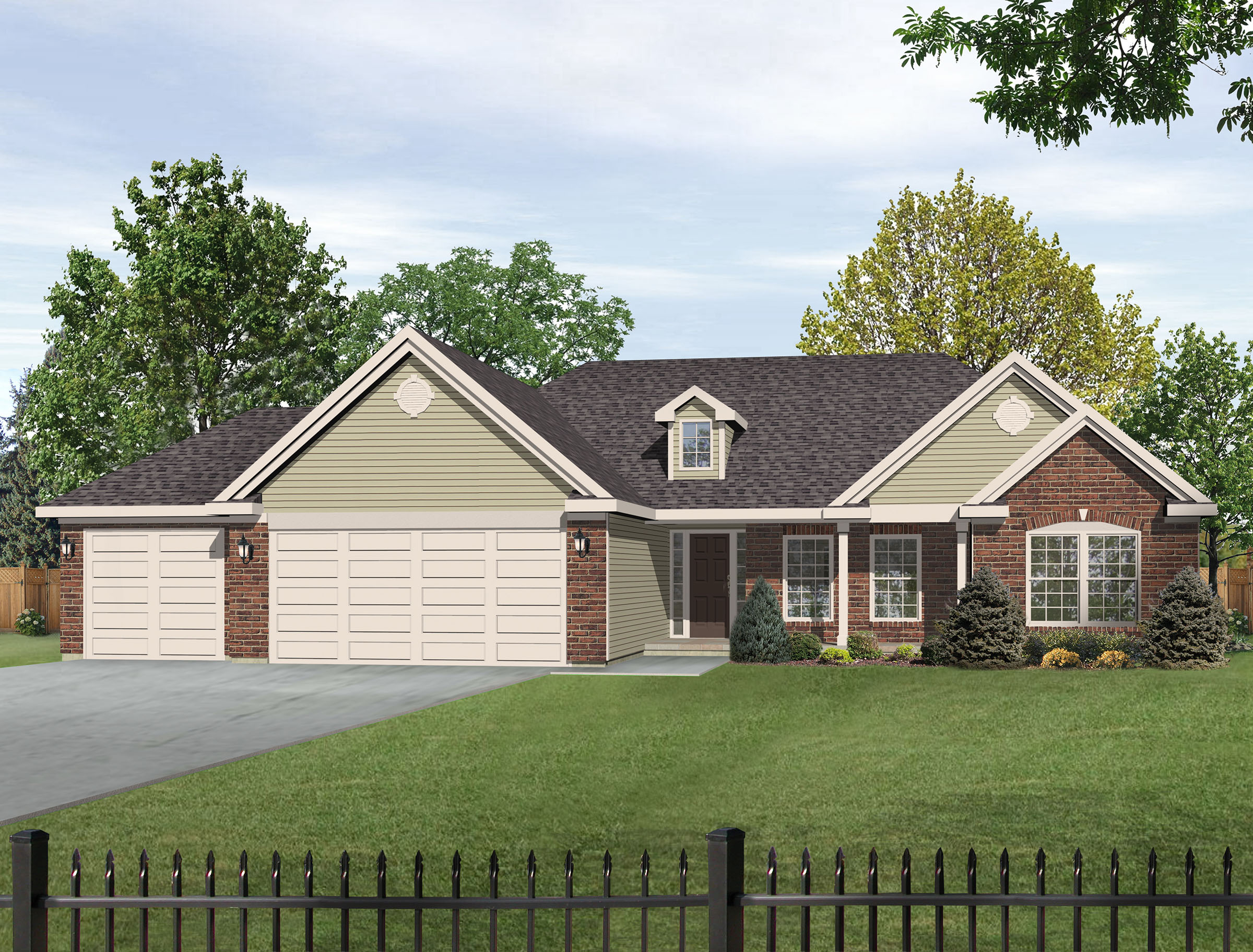 Ranch living with single dormer 22009sl 1st floor for Dormer house plans designs