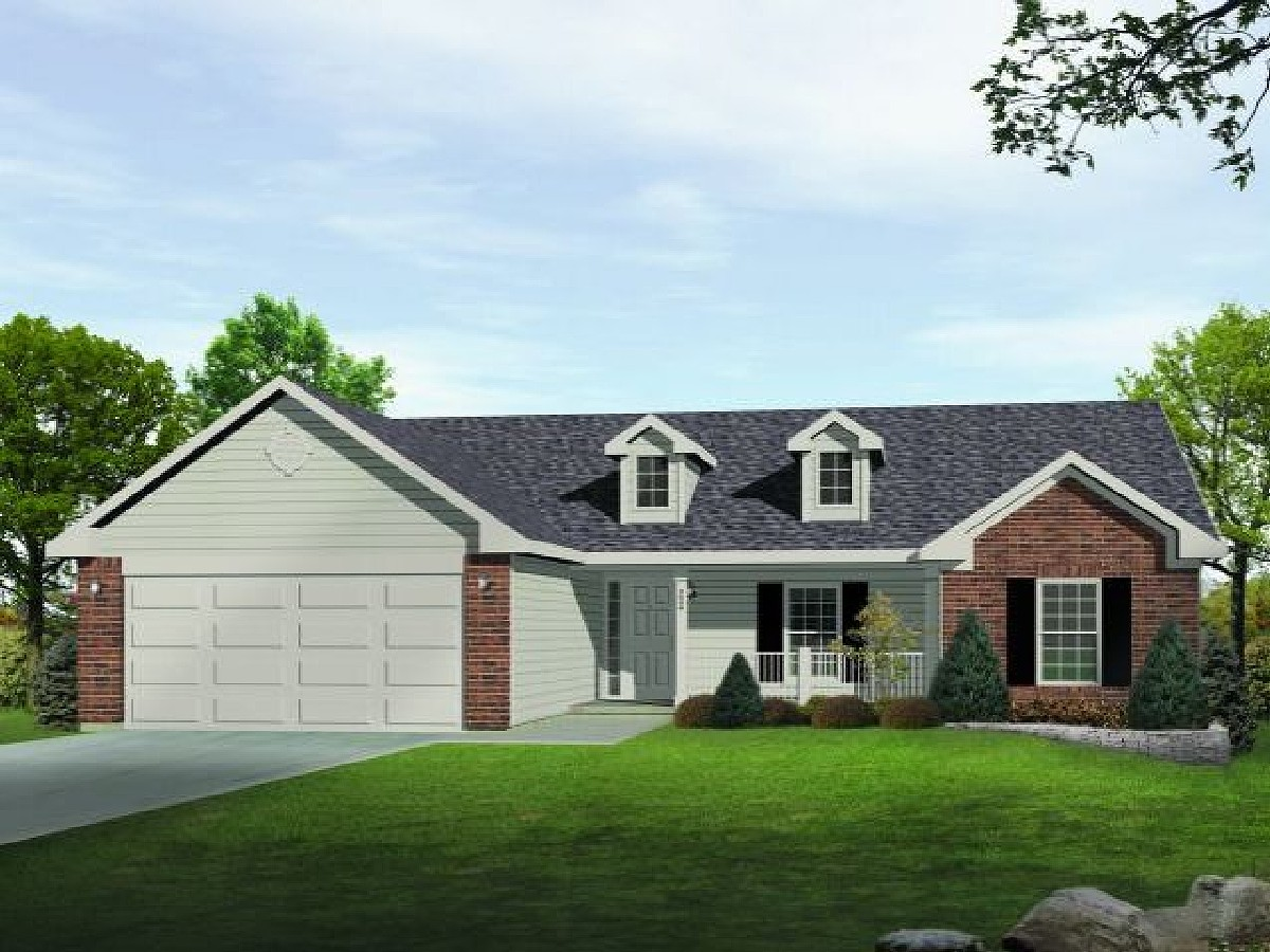 Dormered Country Ranch 22041sl Architectural Designs