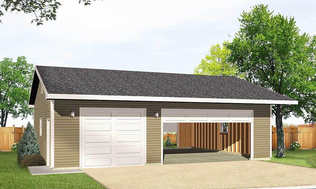 Detached 3 car drive thru garage 22046sl architectural for How large is a 2 car garage