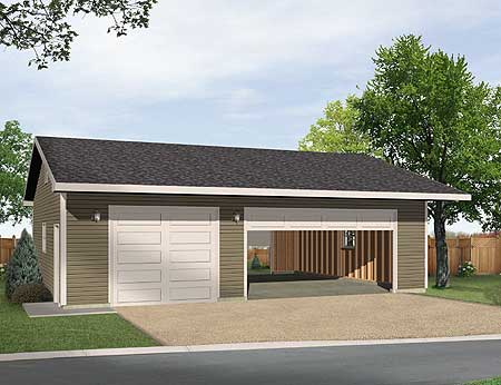 Detached 3 car drive thru garage 22046sl cad available for House plans with drive through garage