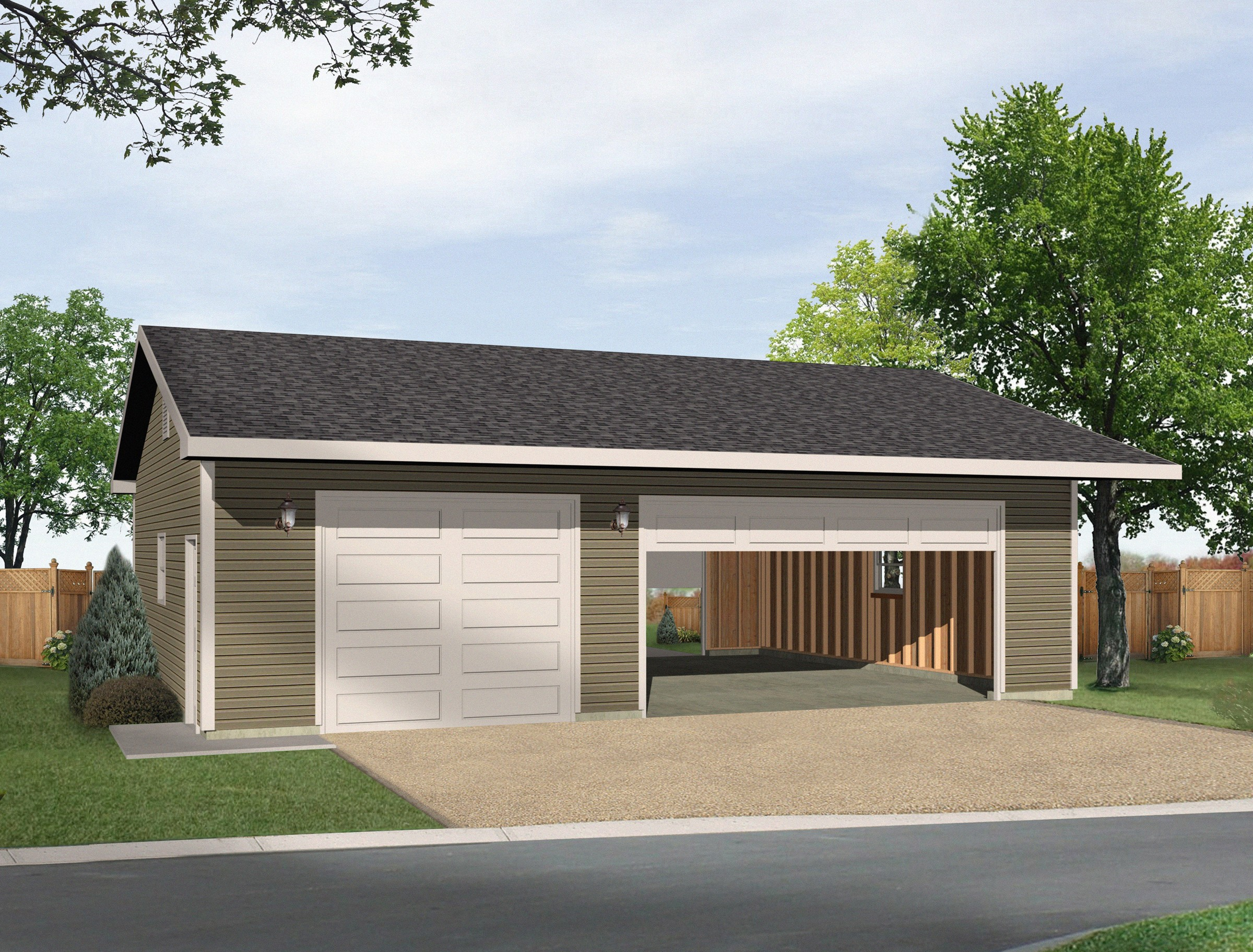 Detached 3 car drive thru garage 22046sl cad available for 3 car detached garage