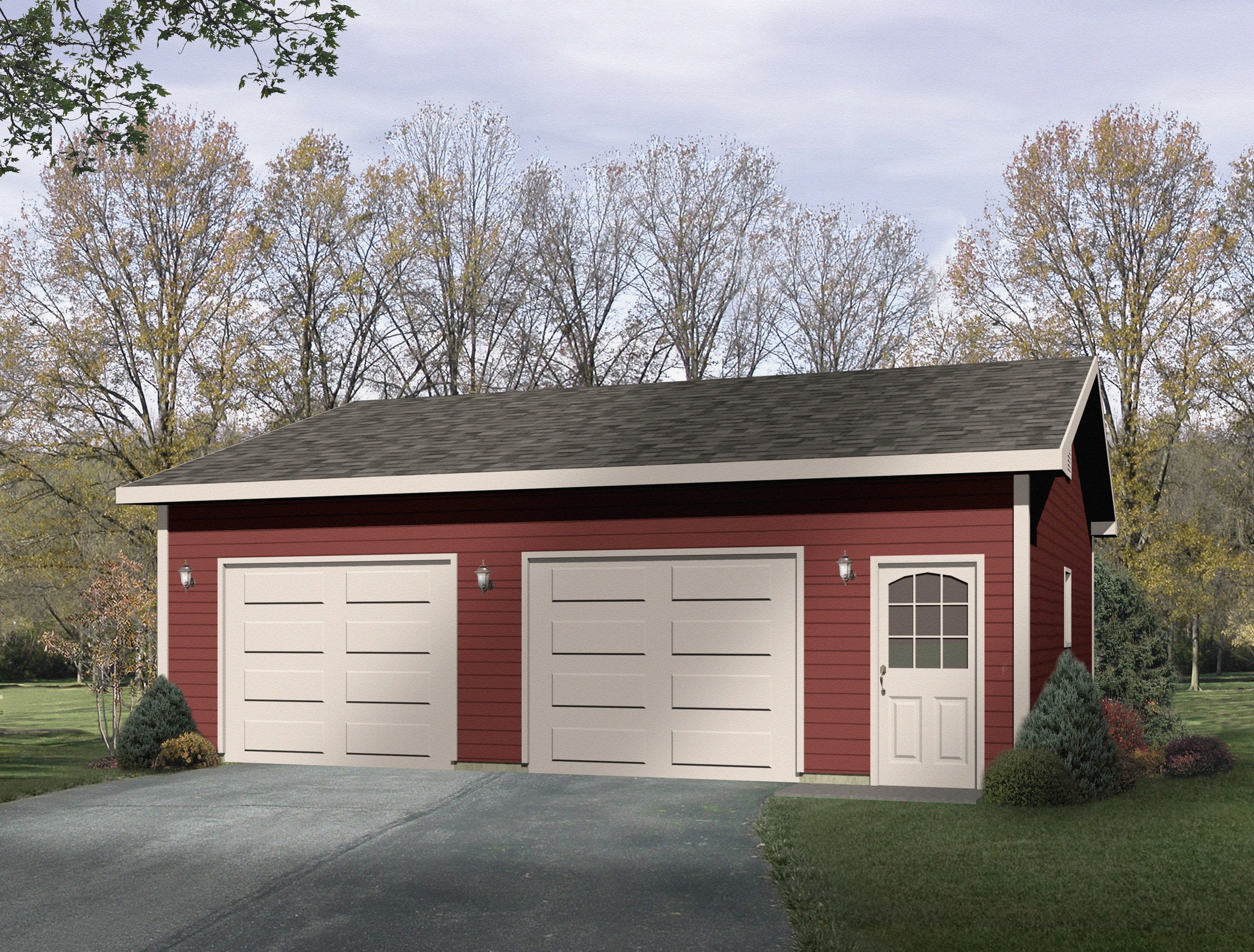 Detached drive thru garage plan 22049sl cad available for Detached garage building plans