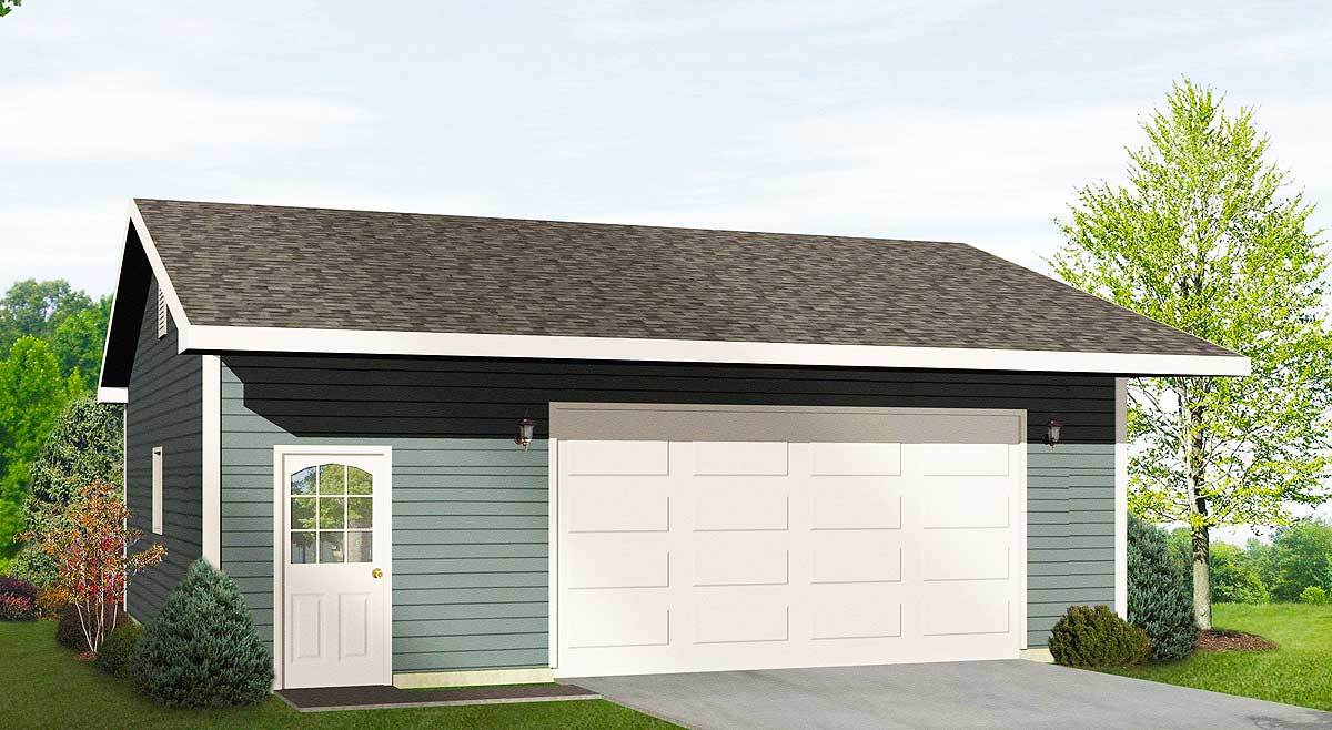 Drive thru garage with 16 39 wide door 22050sl for House plans with drive through garage