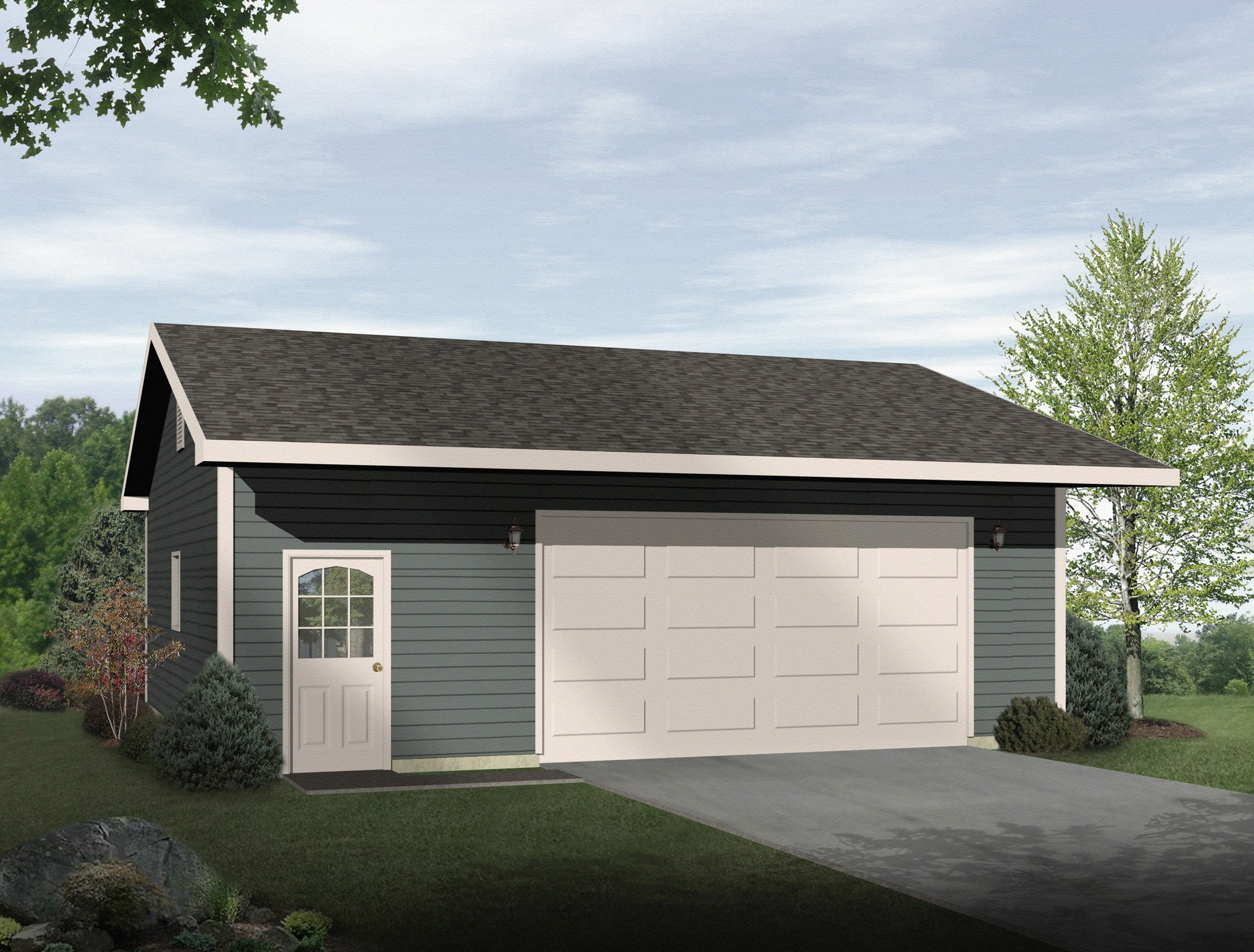 Drive thru garage with 16 39 wide door 22050sl cad for How wide is a 2 car garage