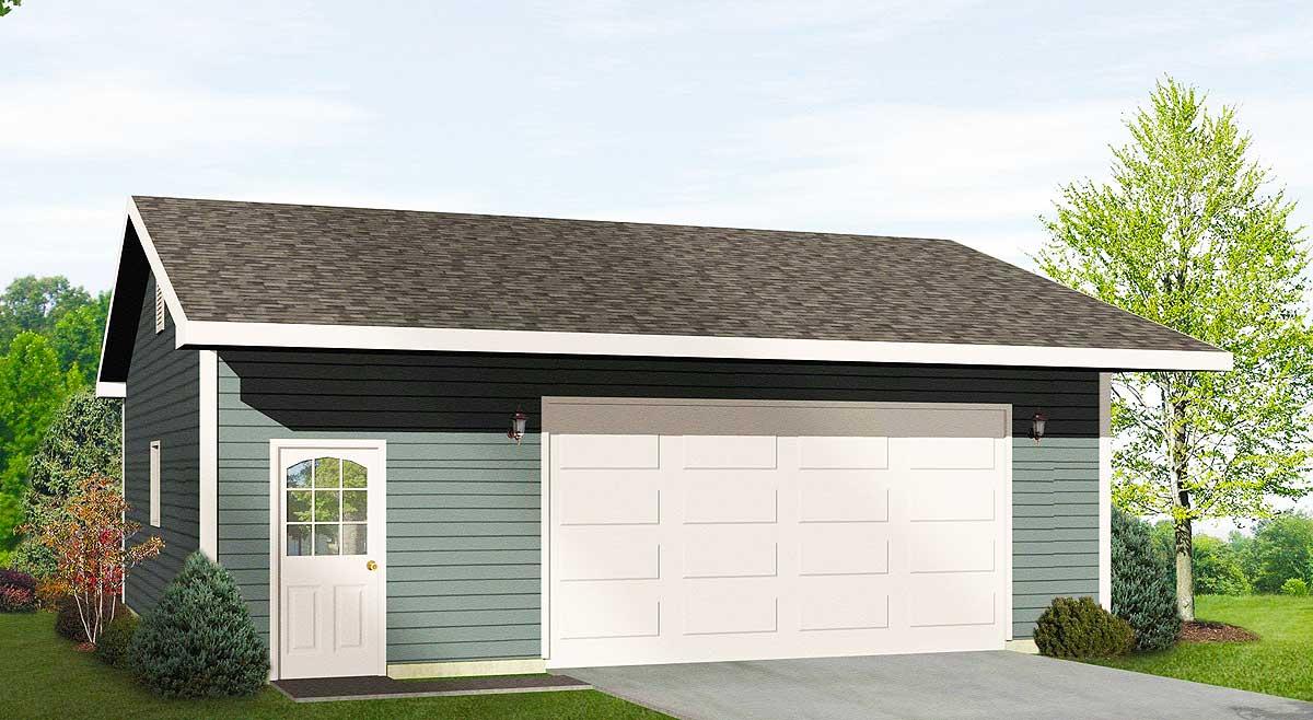 Drive thru garage with 16 39 wide door 22050sl for Drive through garage plans
