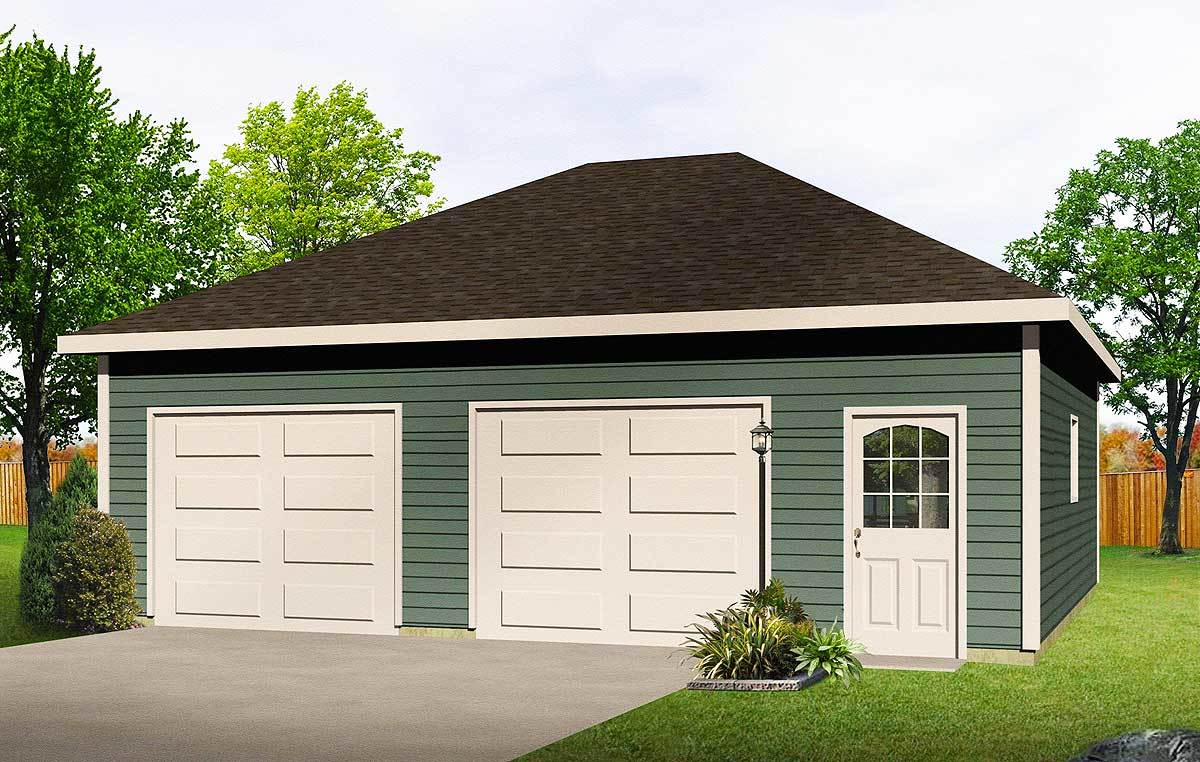 Hip roof drive thru garage 22052sl cad available pdf for Garage roof styles