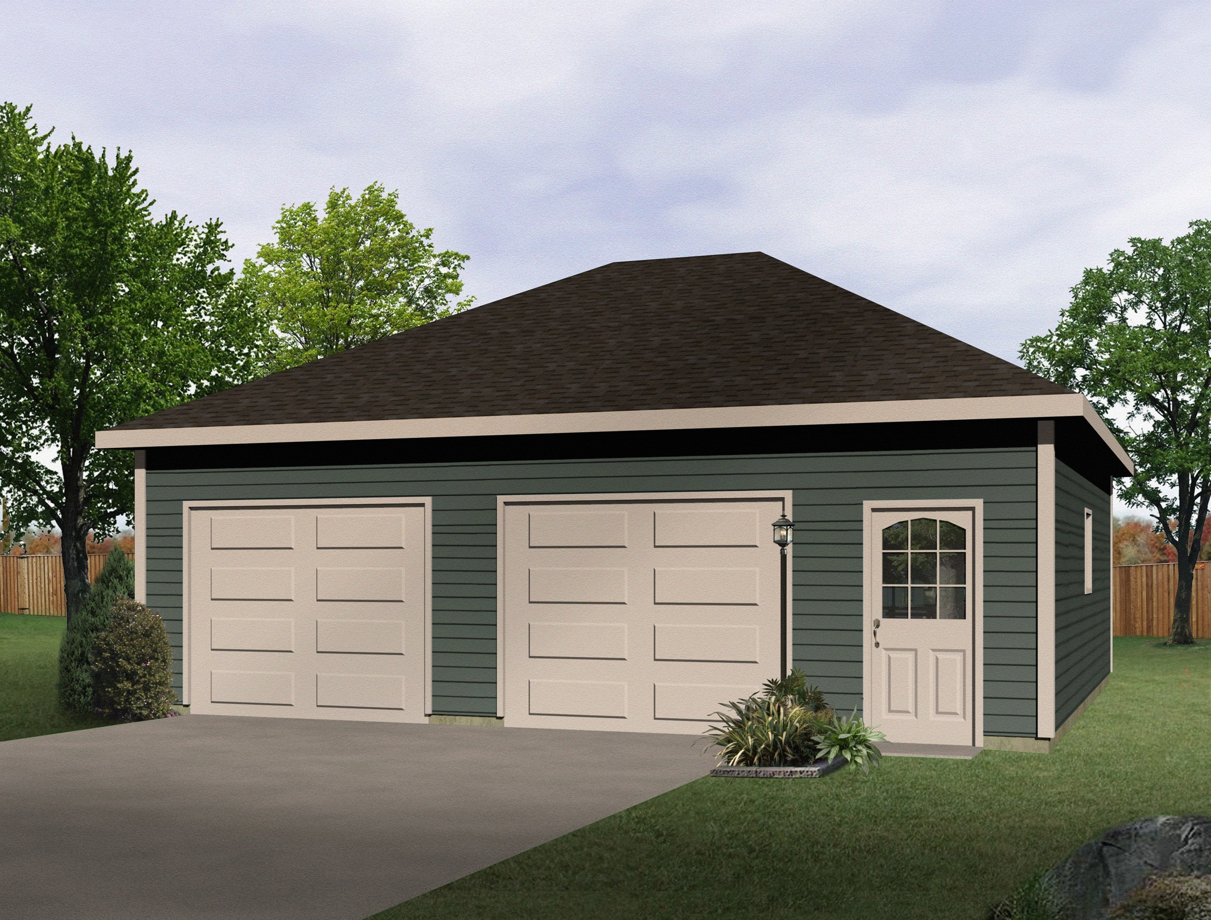 Hip roof drive thru garage 22052sl cad available pdf for Drive through garage door