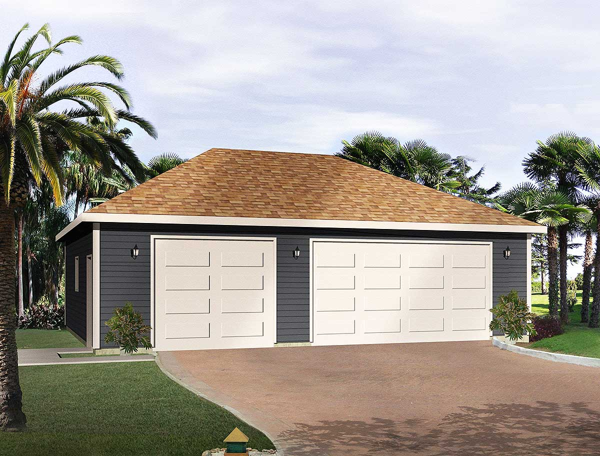 Hip roof 3 car drive thru garage 22053sl architectural for Hip roof garage plans