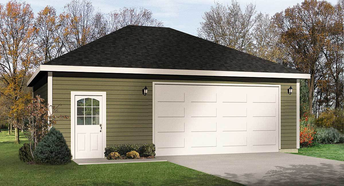 Hip roof 2 car drive thru garage 22054sl cad available for Hip roof garage plans