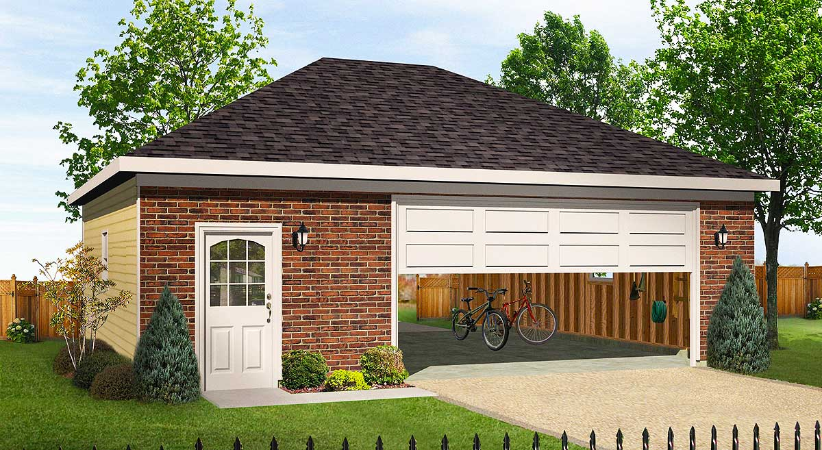 Hip roofed drive thru garage 22056sl architectural for House plans with drive through garage