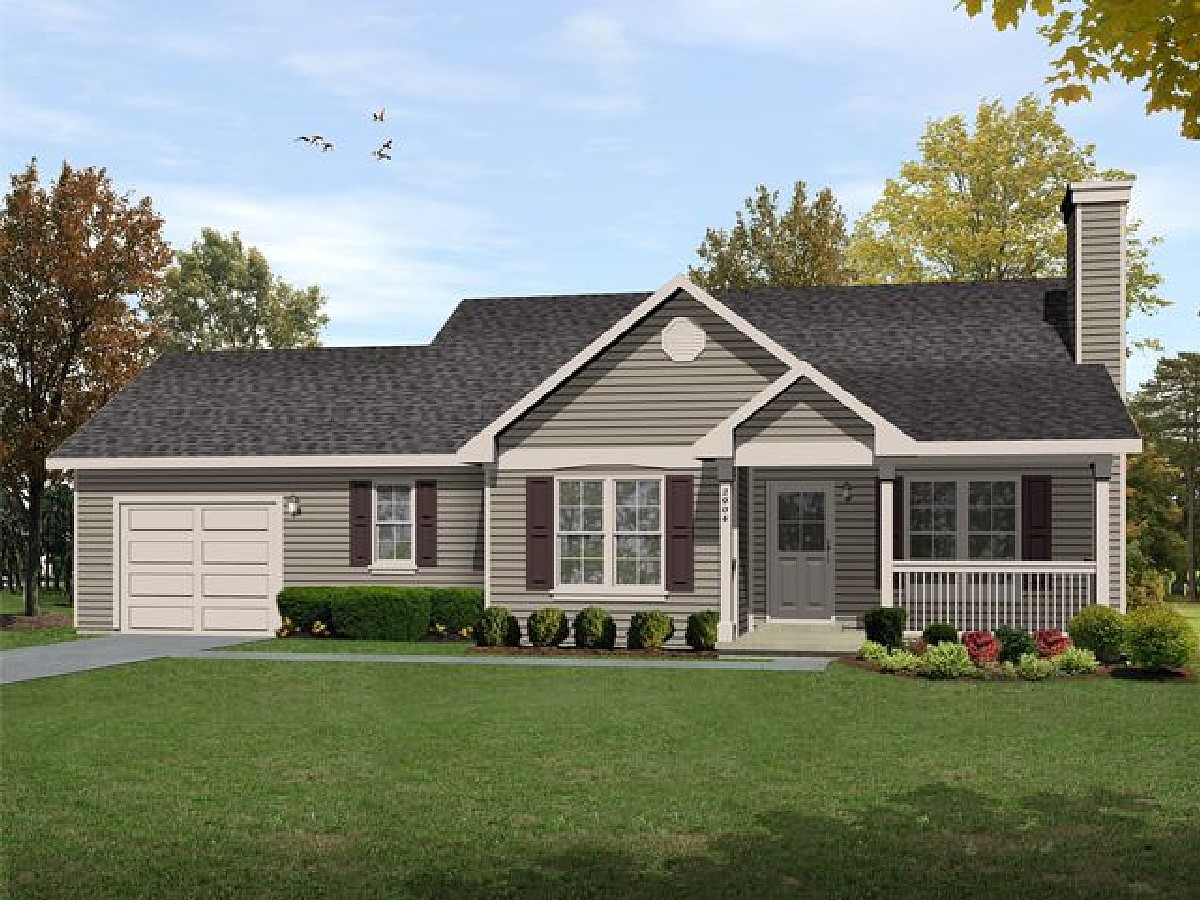 Ranch in multiple versions 22089sl architectural for Reverse ranch house plans