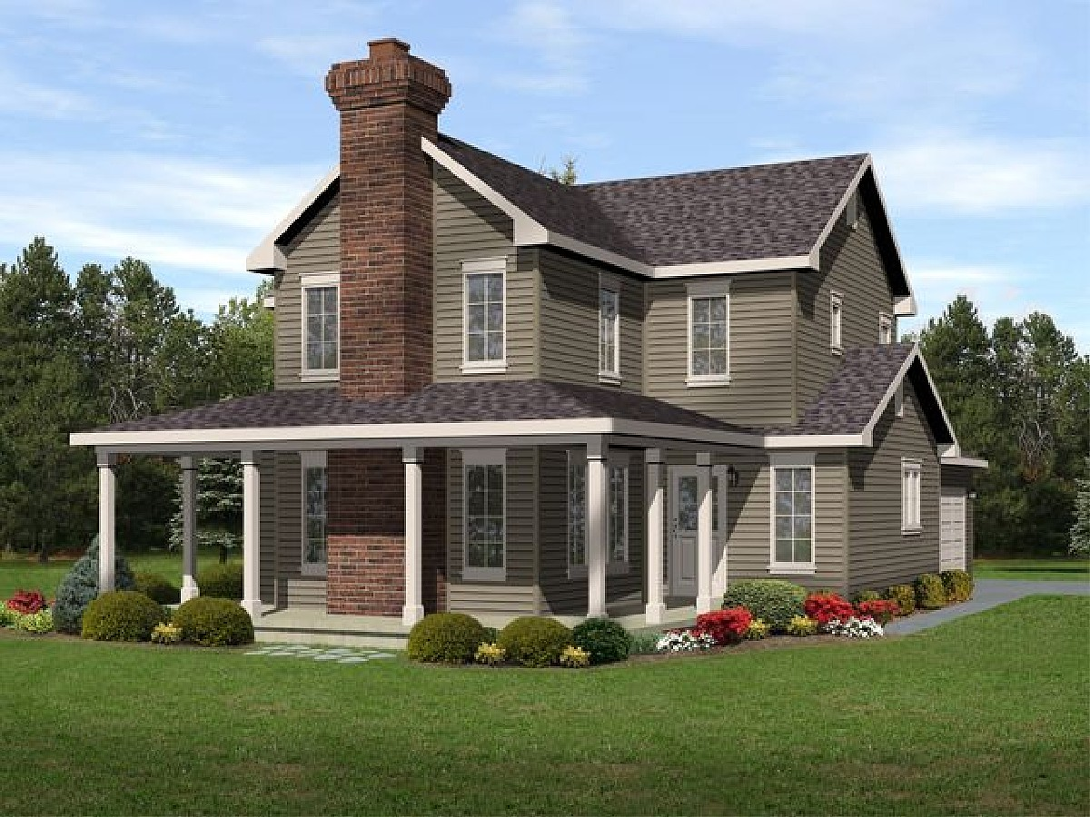 Narrow lot with wraparound 22092sl architectural for Architecturaldesigns com house plan 56364sm asp