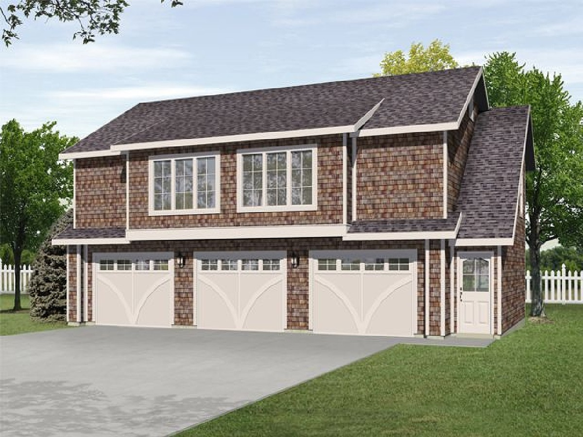 Two bedroom carriage house plan 22104sl architectural Small house plans with 3 car garage
