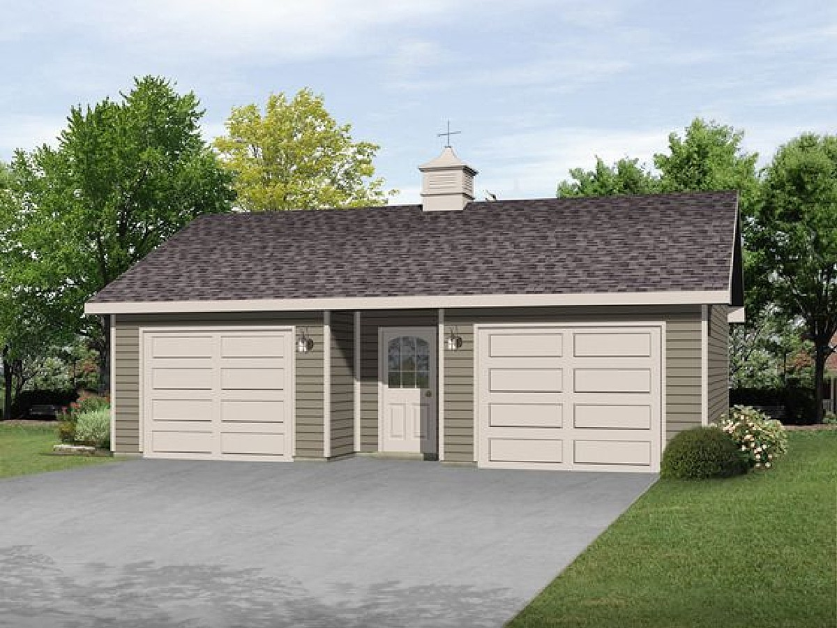 2 car garage with center door 22112sl architectural for 2 door garage plans