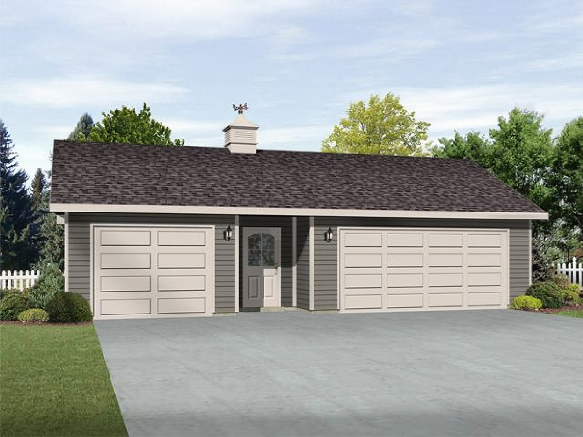 3 car garage with center door 22114sl architectural for Three car garage house plans