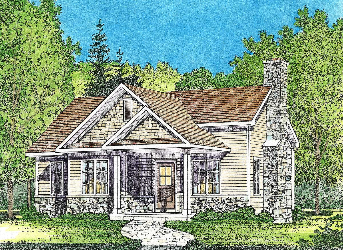 One bed cottage with covered entry 22117sl for House bed plans