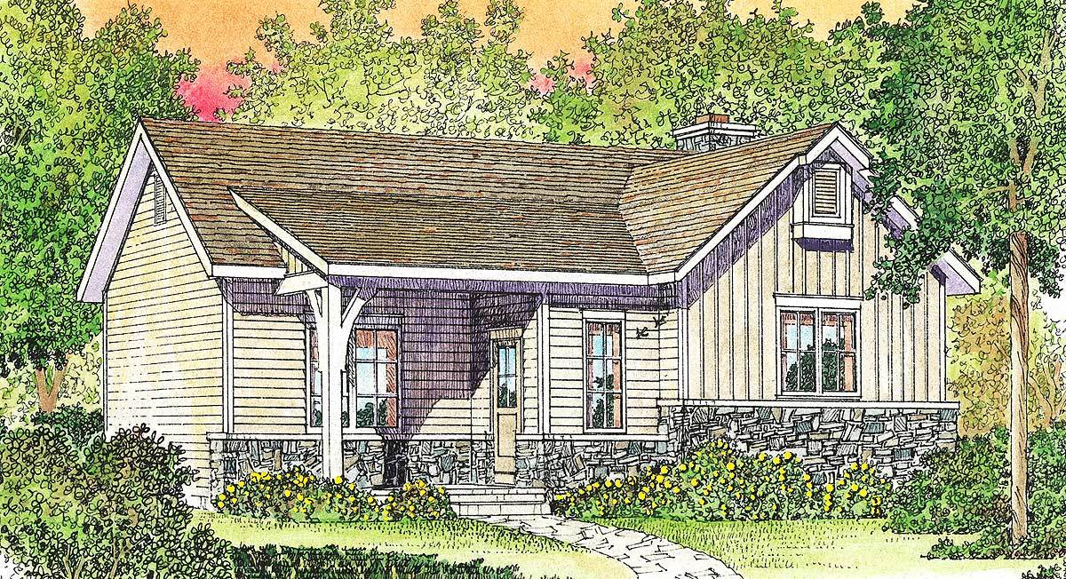 Cozy cottage with vaulted bedroom 22118sl for Cosy house plans