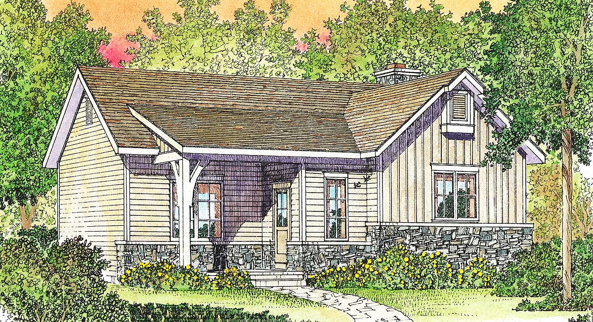 Cozy cottage with vaulted bedroom 22118sl for Cozy cottage floor plans