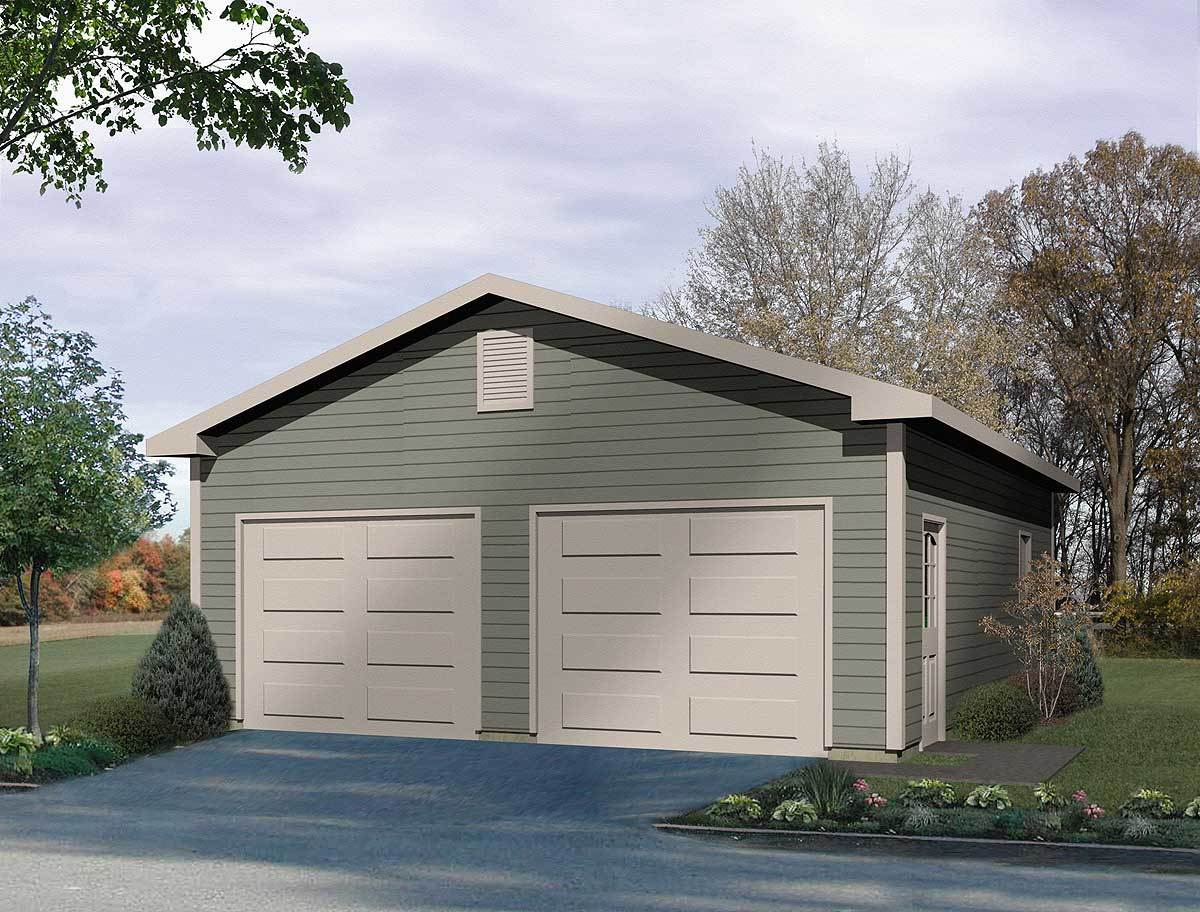 Detached two car garage 2215sl architectural designs for How large is a 2 car garage