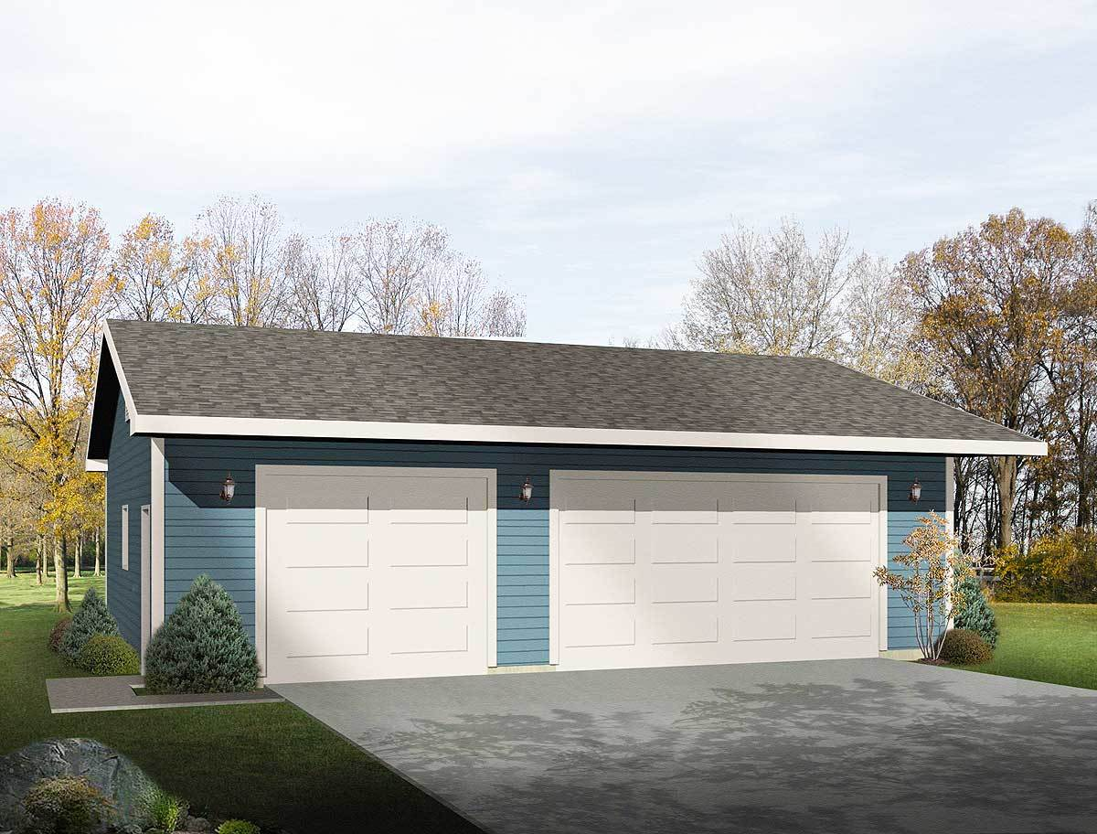 Simple three car garage 2218sl architectural designs for Simple 2 car garage plans