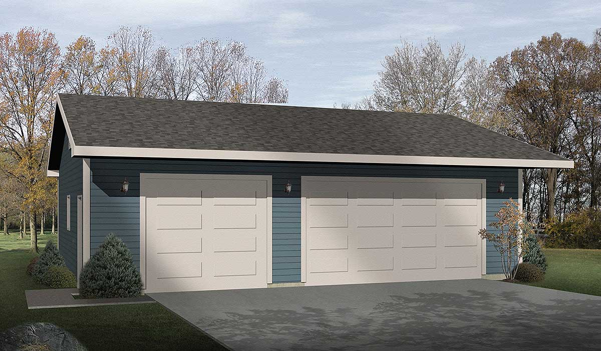 Simple three car garage 2218sl cad available narrow for Simple house plans with garage
