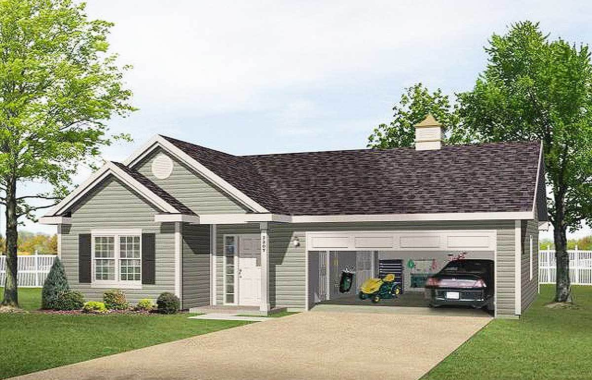One story garage apartment 2225sl architectural for Single story house plans with garage