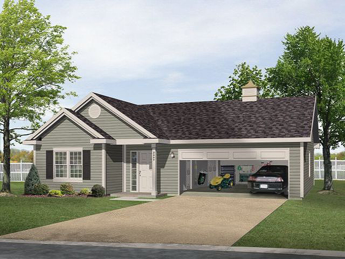 One story garage apartment 2225sl 1st floor master for Two car garage with workshop plans