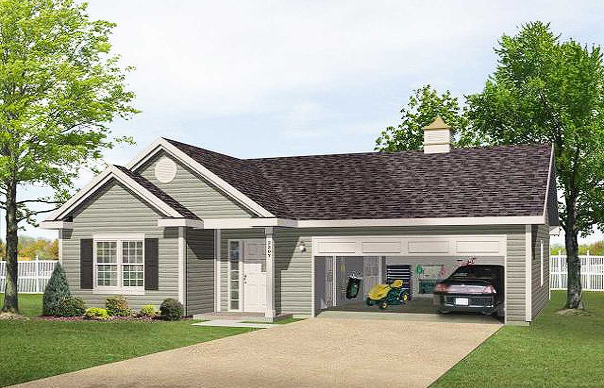 One story garage apartment 2225sl architectural for Garage plans with apartment one level