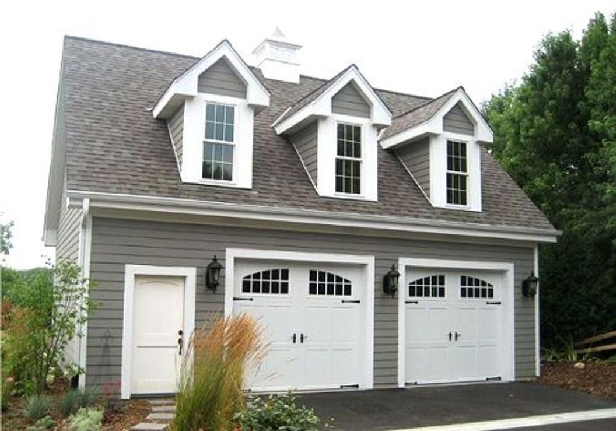 Two car garage with loft 2226sl architectural designs for Multi car garage