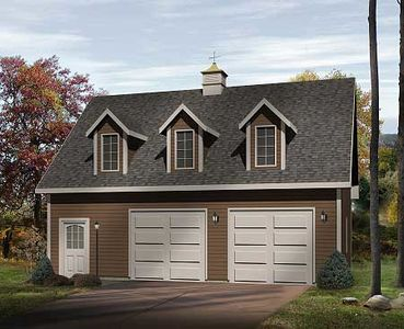 Two car garage with loft 2226sl architectural designs for Garage designs with loft