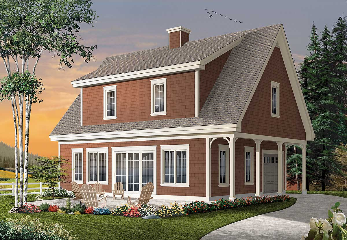 Shed dormered getaway 22313dr 2nd floor master suite for Cape cod cottage house plans