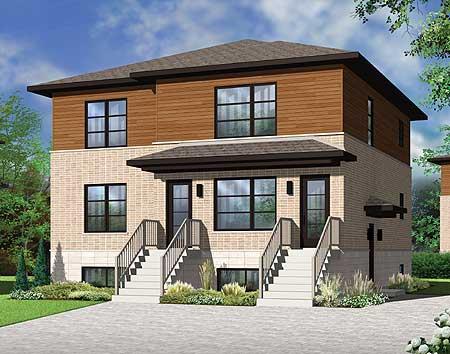 Stylish contemporary triplex house plan 22325dr for Modern triplex house plans