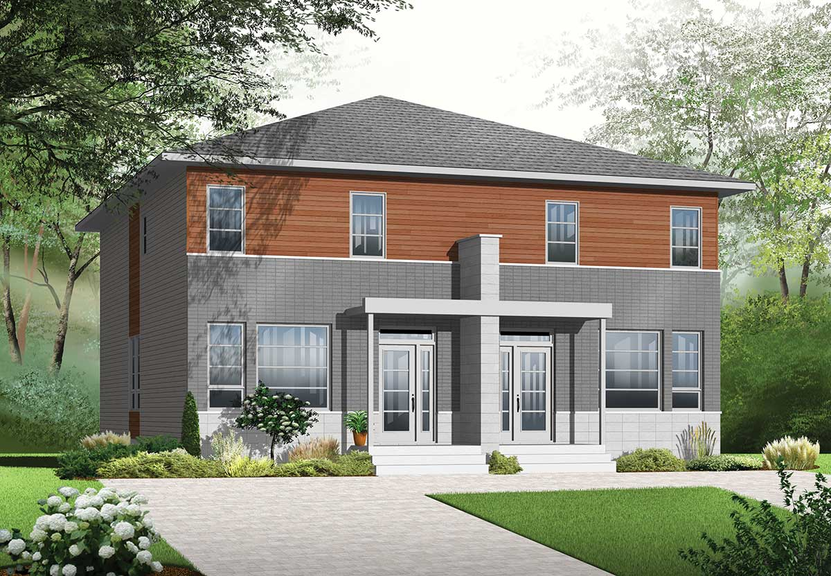 Narrow Lot Multi Family Home Plan 22327dr Architectural Designs House Plans
