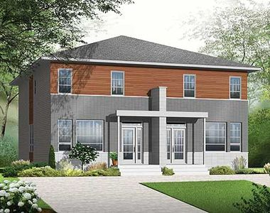 Narrow lot multi family home plan 22327dr for Narrow lot multi family house plans