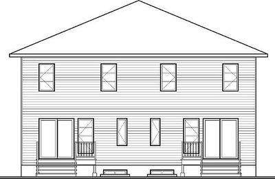 Narrow lot multi family home plan 22327dr for 2 family house plans narrow lot