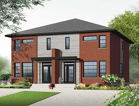 Narrow lot multi family home plan 22327dr canadian for Multi family plans for narrow lots