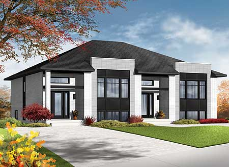 Contemporary Semi-Detached Multi-Family House Plan - 22329Dr