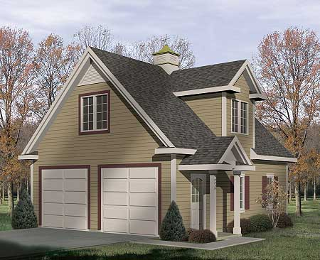 Two car garage with loft storage 2233sl architectural for Small house over garage plans