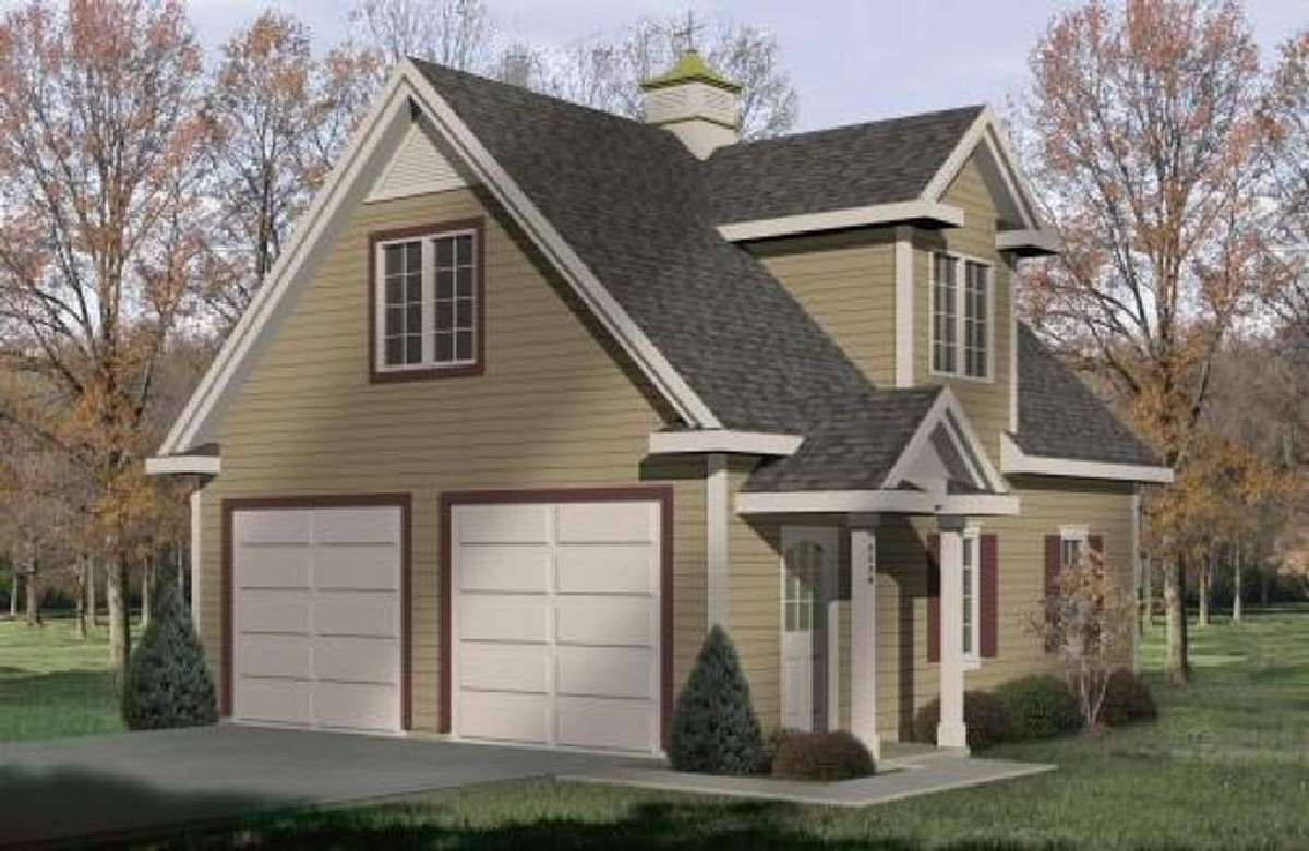 Two car garage with loft storage 2233sl cad available for Two car garage with workshop plans