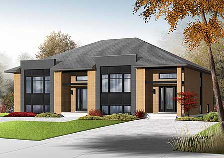 Sleek Modern Multi Family House Plan   DR   CAD Available    Plan DR