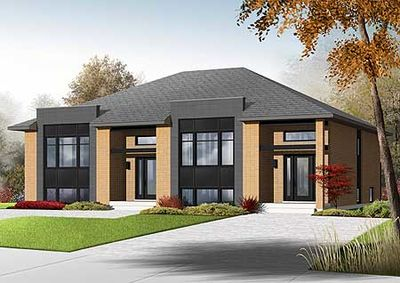 sleek modern multi family house plan 22330dr thumb 01 - Family House Plans