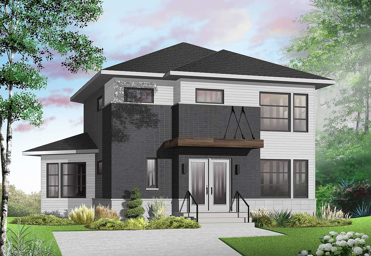 Home plan with unique angled back 22338dr for Weird architectural designs