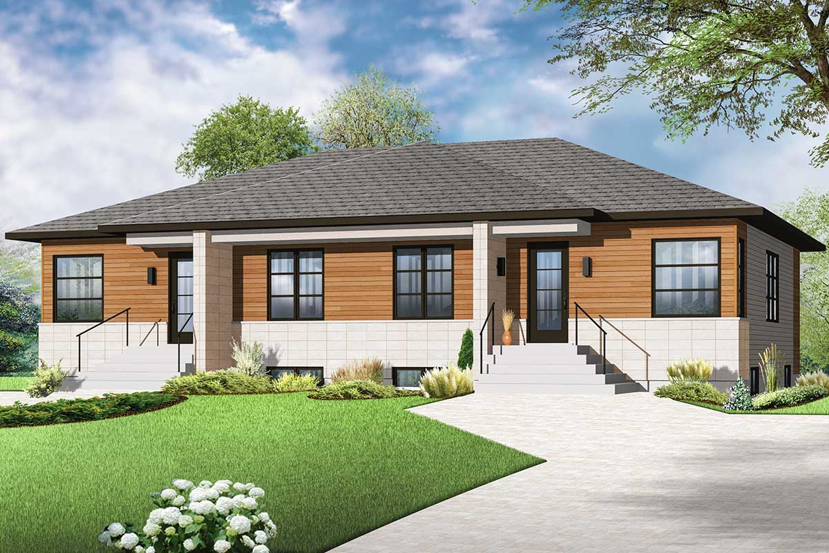 Contemporary two family home plan 22342dr for 2 family home plans