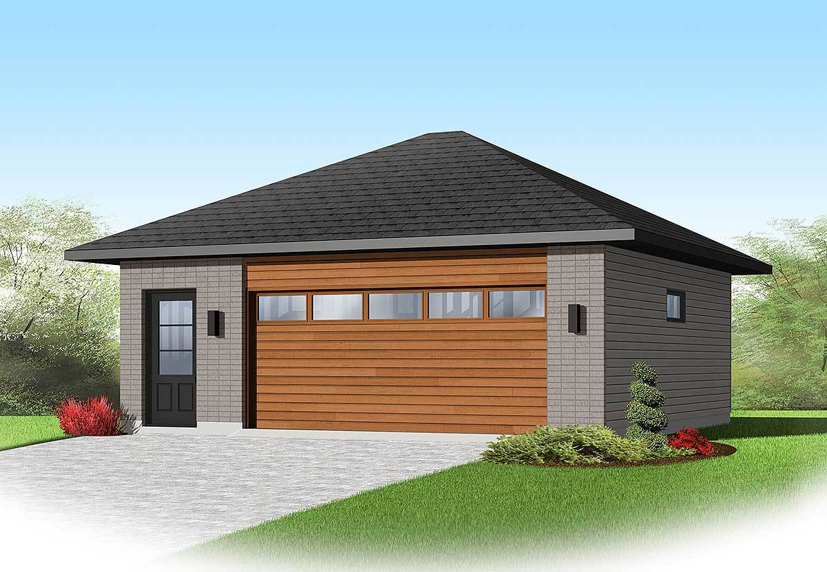 Contemporary 2 car detached garage plan 22345dr for Modern house plans with garage
