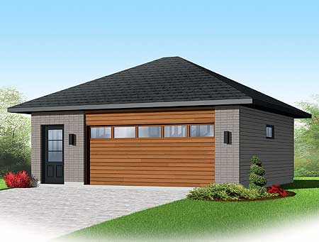Contemporary 2 car detached garage plan 22345dr cad for Single car detached garage plans