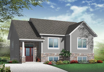 Small Split Level Home Plan - 22354DR thumb - 01