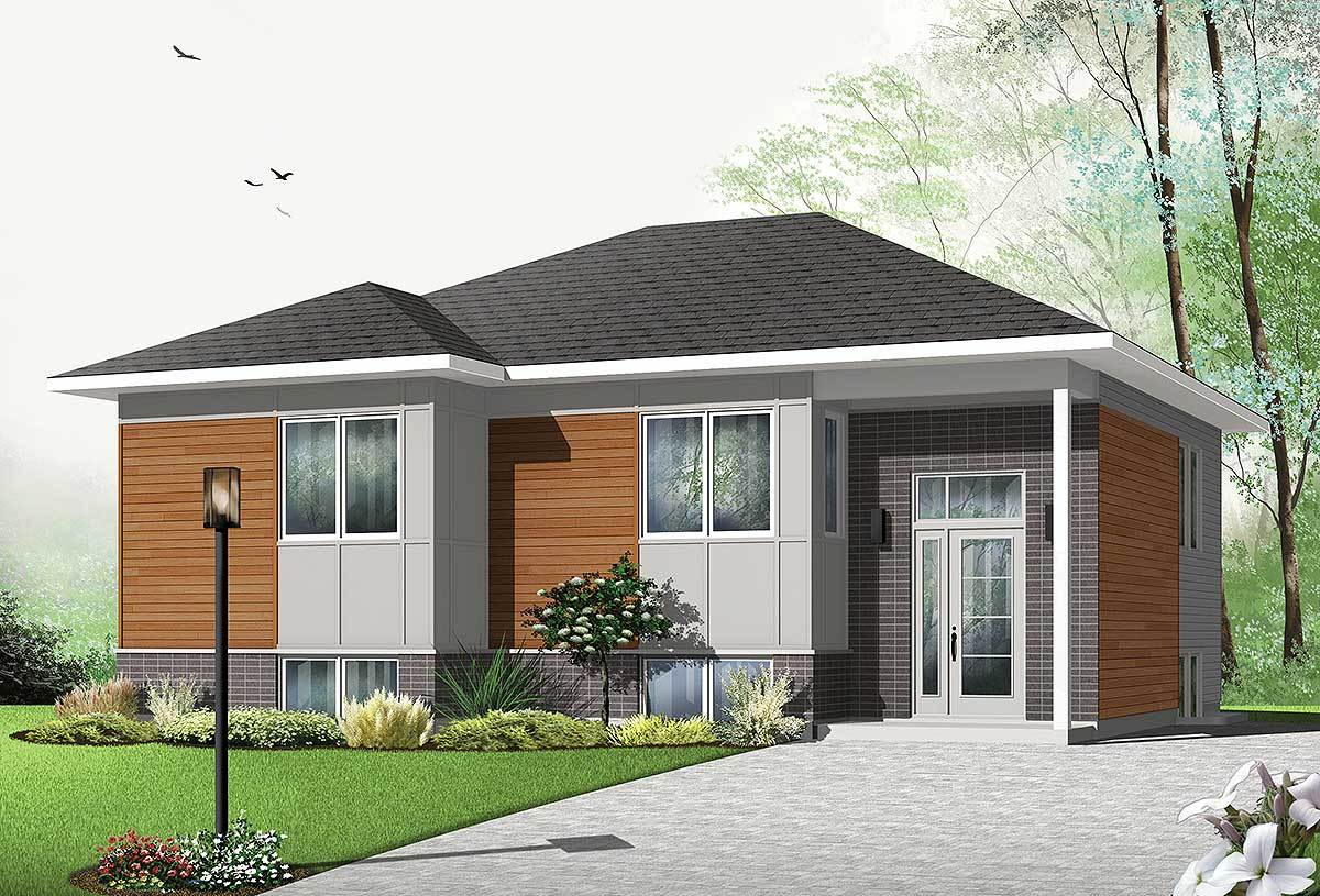 Affordable Contemporary Split Level House Plan 22355dr Architectural Designs House Plans